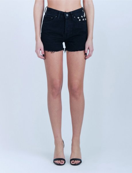 Chiara black bubbles denim shorts