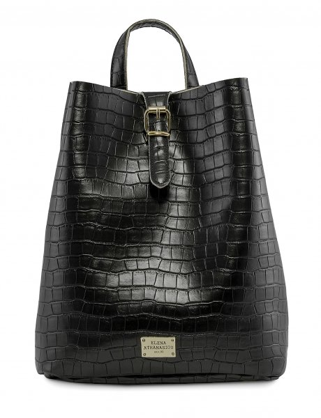 Croco backpack black