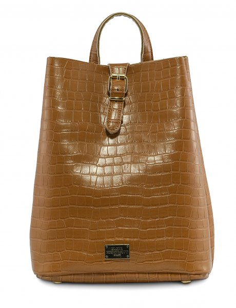 Croco backpack cognac