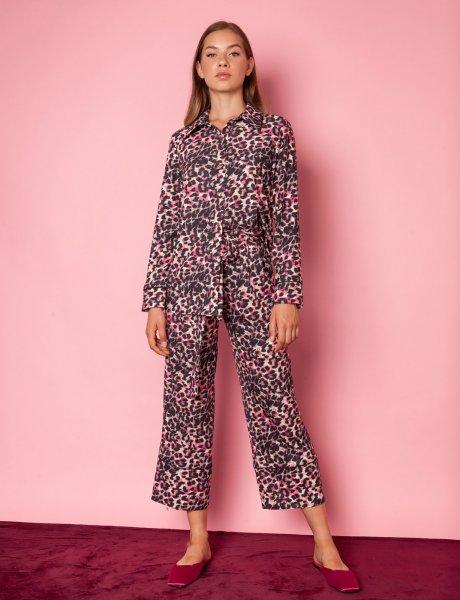 Marl pink animal print pants