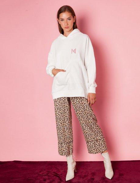 Marl brown animal print pants