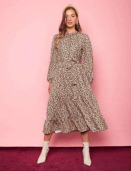 Desert rose animal print dress