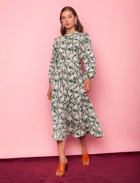 Desert rose green floral dress
