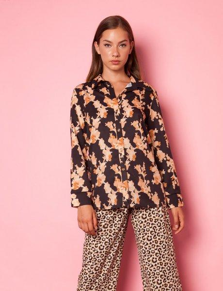 Moon brown print shirt