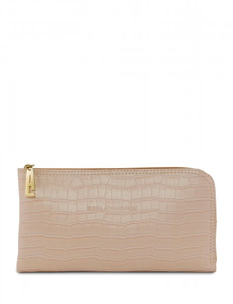 Clutch bag powder pink croco