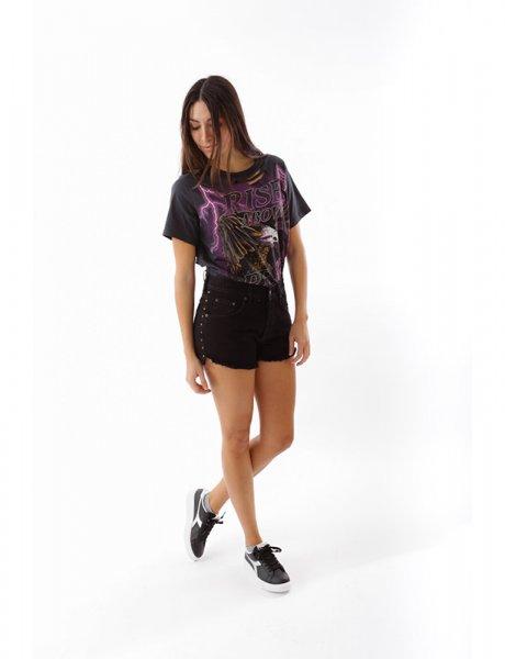 Chiara black rivets shorts
