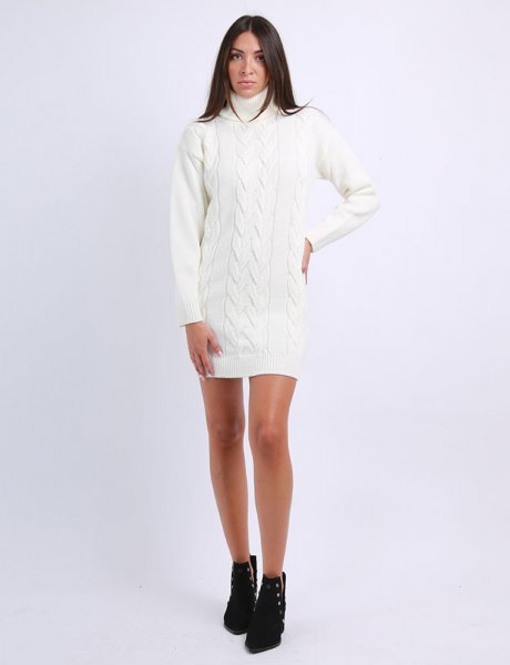 Combos F28 - White turtleneck knitted dress