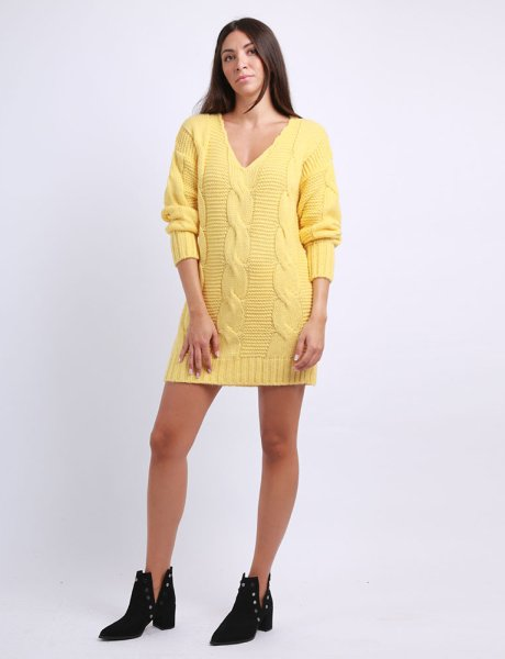 Combos F76 - Yellow knitted dress