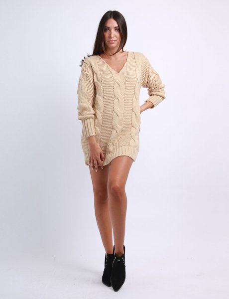 Combos F76 - Camel knitted dress
