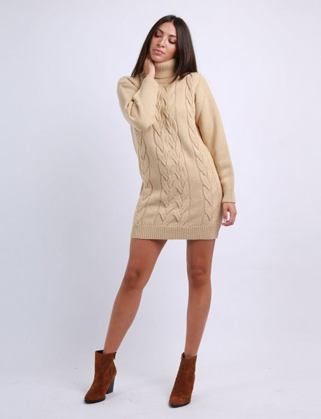 Combos F28 - Camel turtleneck kintted dress