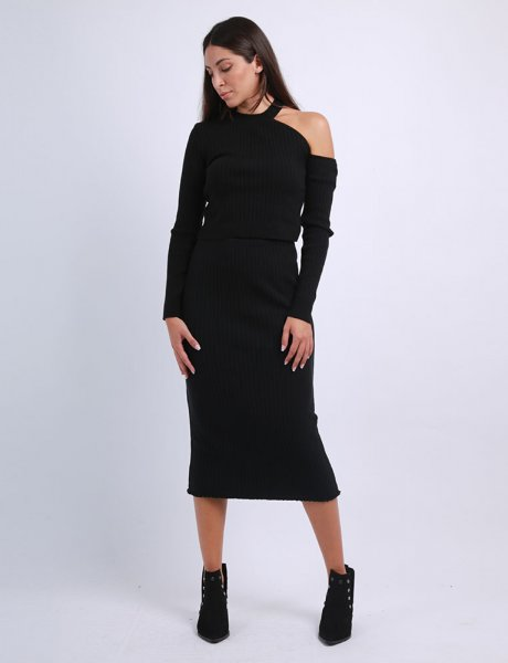 Combos F52 - Black knitted skirt