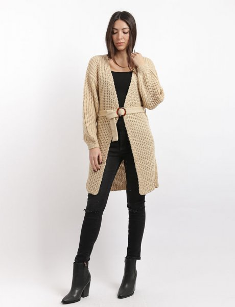 Combos F75 - Beige knitted cardigan