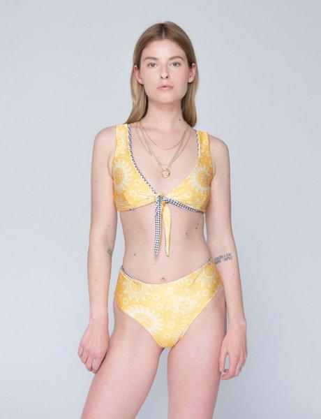 Amelia double face bikini sun yellow/b&w plaid
