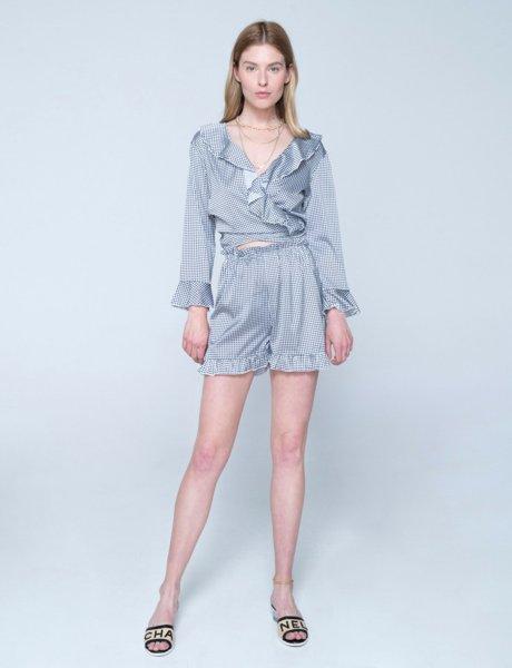Lucia shorts black & white plaid