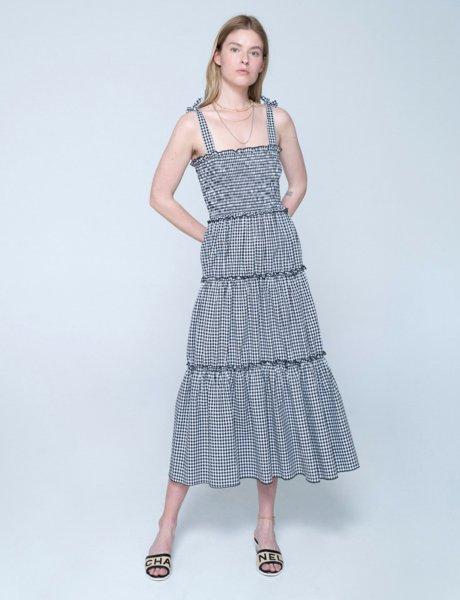 Isabella dress black&white plaid