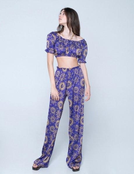 Valentina silky pants sun purple