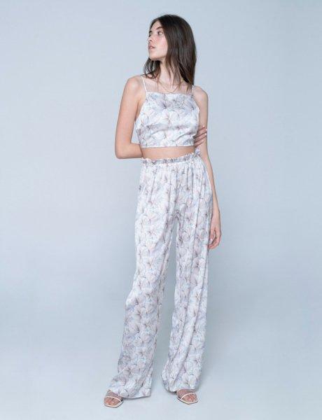 Valentina silky pants flowers