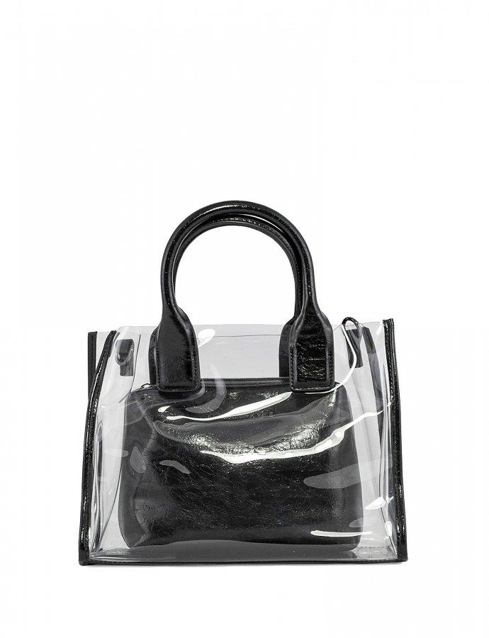 Carla crossbody/tote bag crinkled black