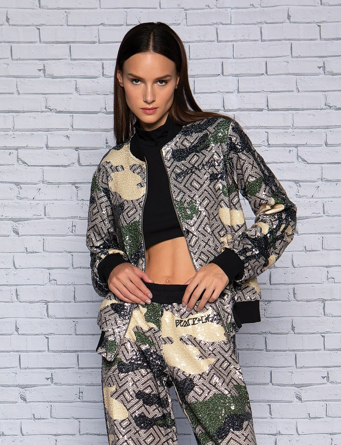 Camo motif sequin jacket