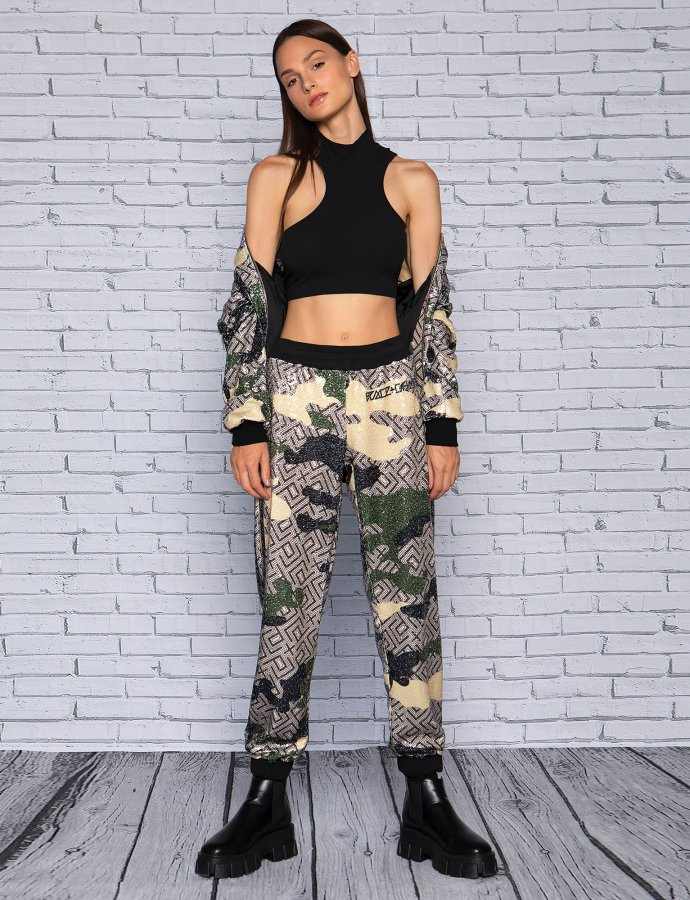 Camo motif sequin pants