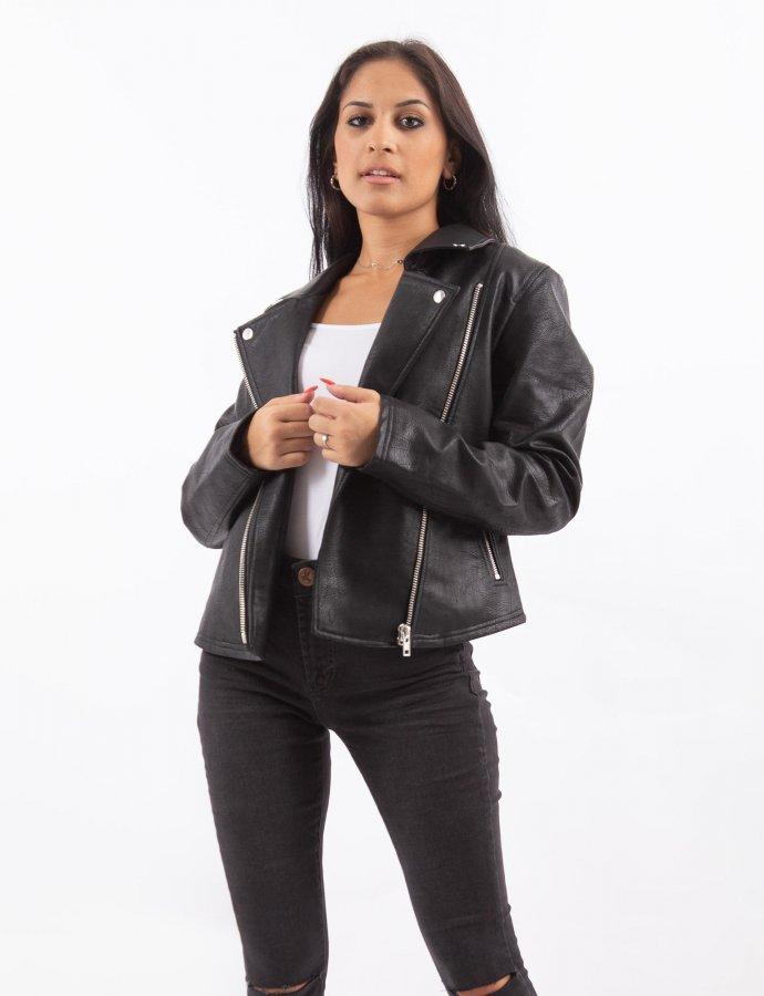Short biker jacket black