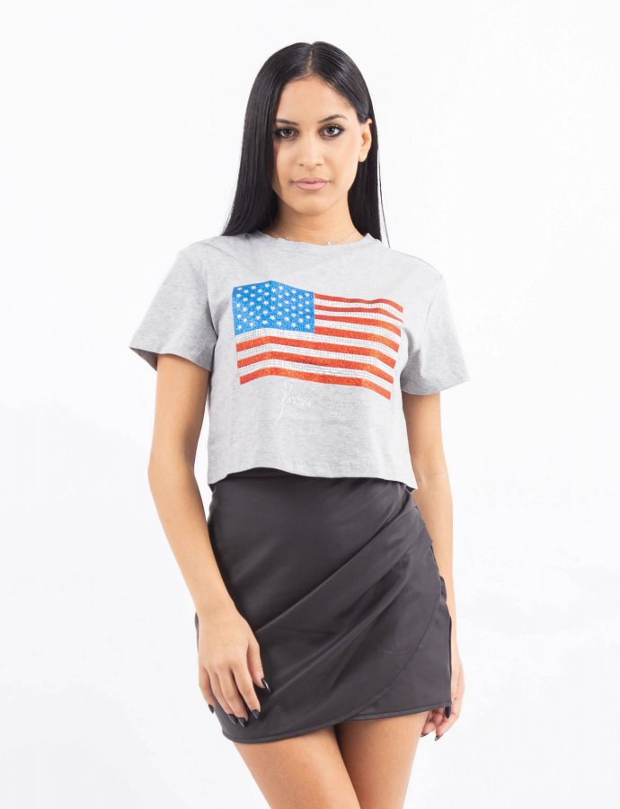 Flag cropped tee