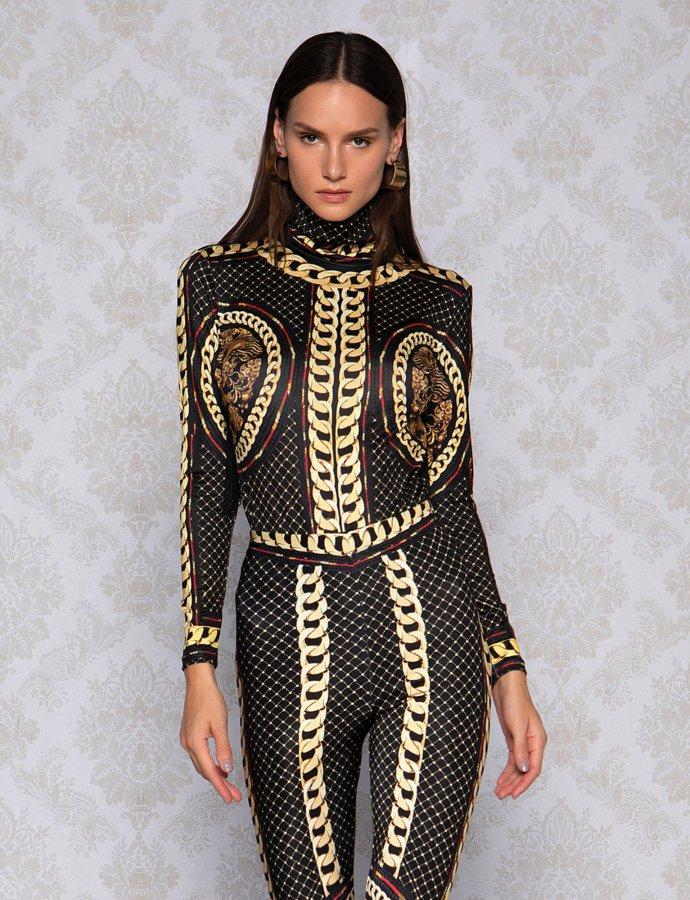 Gold chain bodysuit