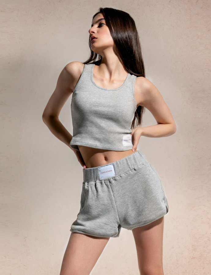Grey melange shorts