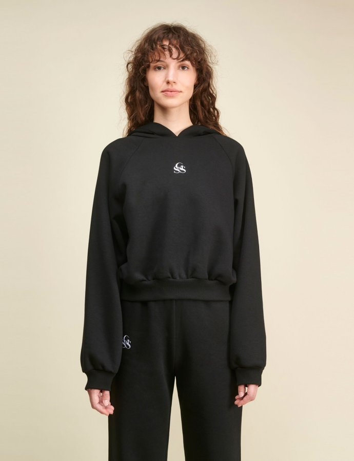 Yavia SSG black crop hoodie