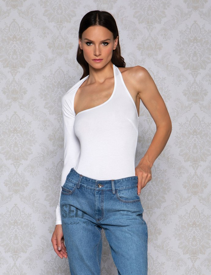 One sleeve white bodysuit