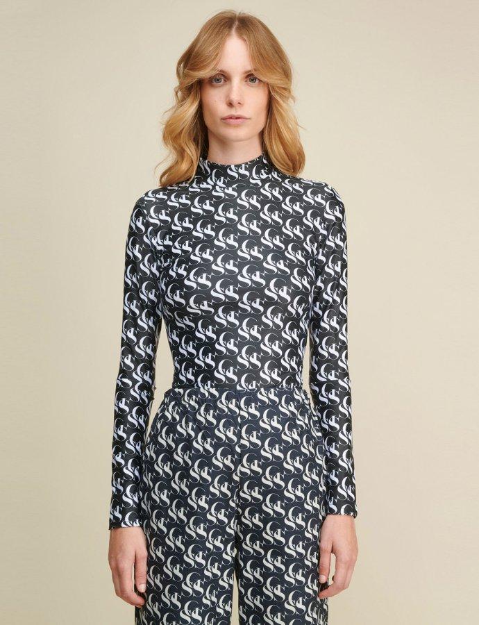 Gilda SSG black & white turtleneck top