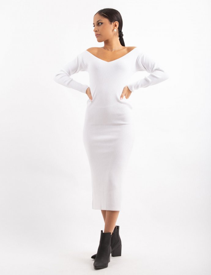 Combos W7 – White V-neck midi dress