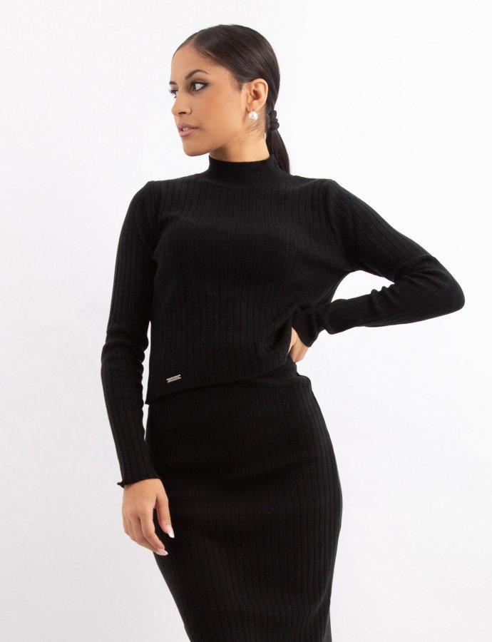 Combos W15 – Black rib turtleneck top