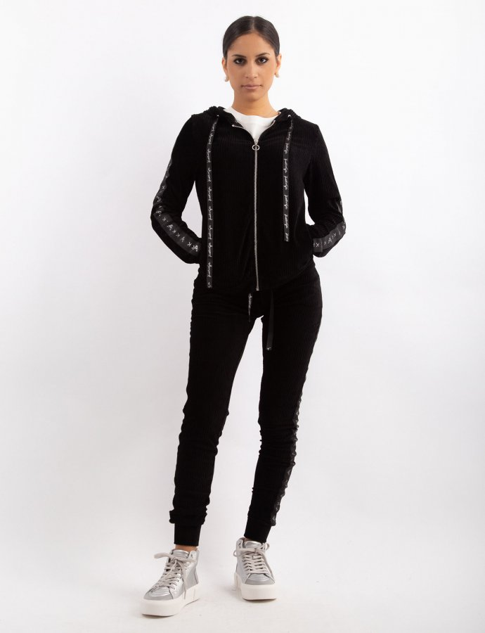 Corduroy velvet zipper hoody