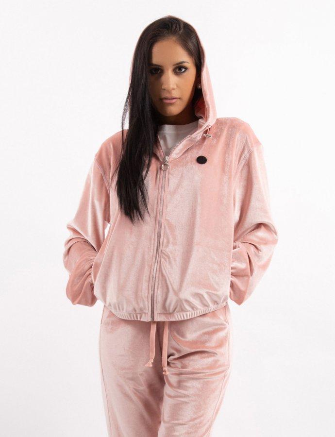 Pink velvet zipper hoody