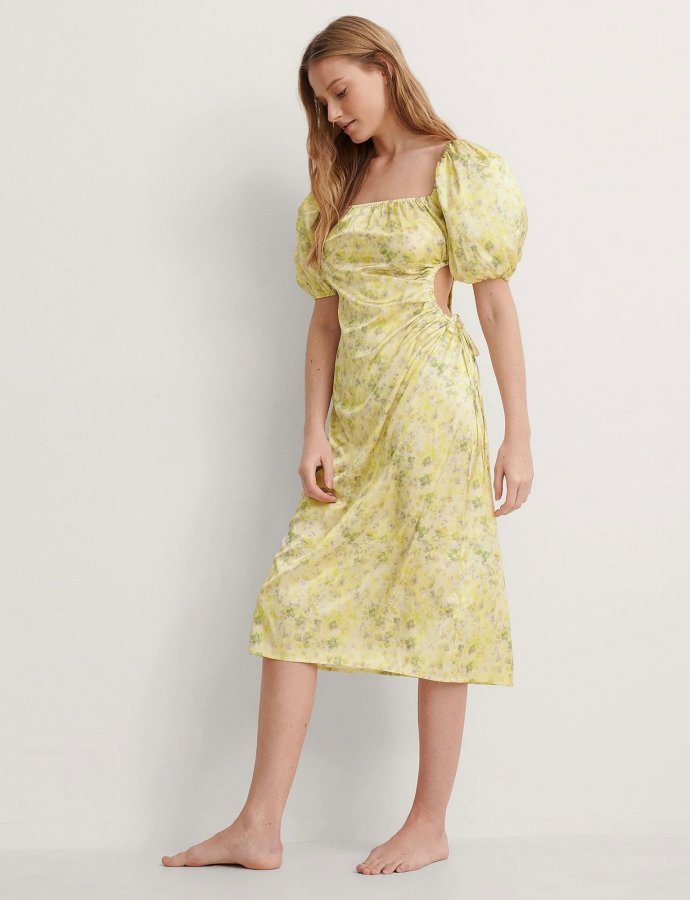 Puff sleeve cut out dress