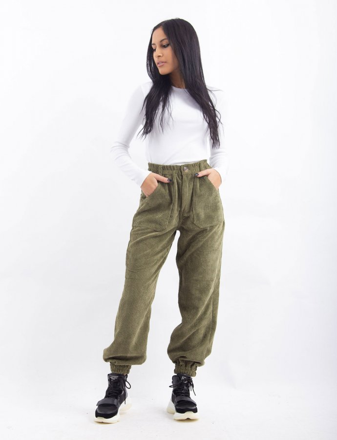 Green corduroy jogger pants