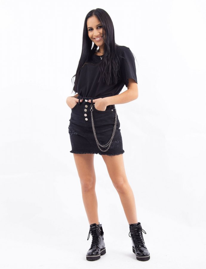 Black denim chain skirt