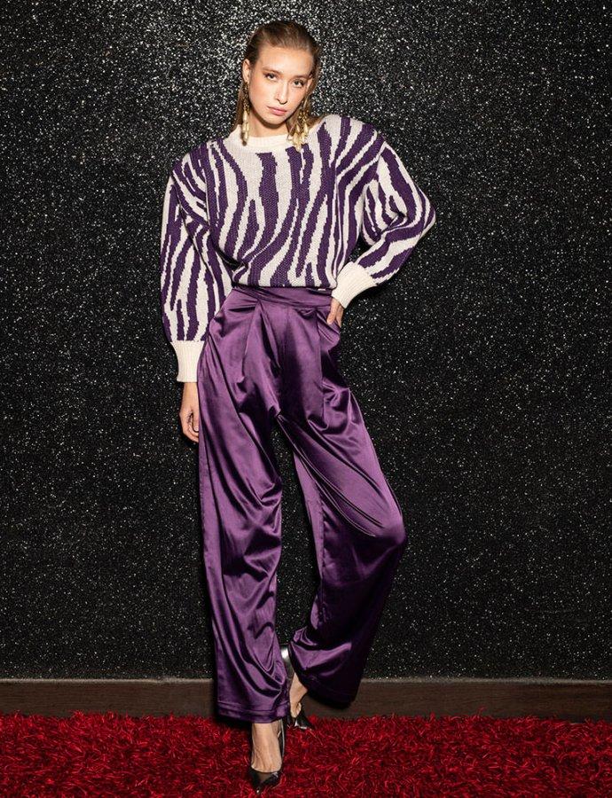 Jaclyn purple satin pants