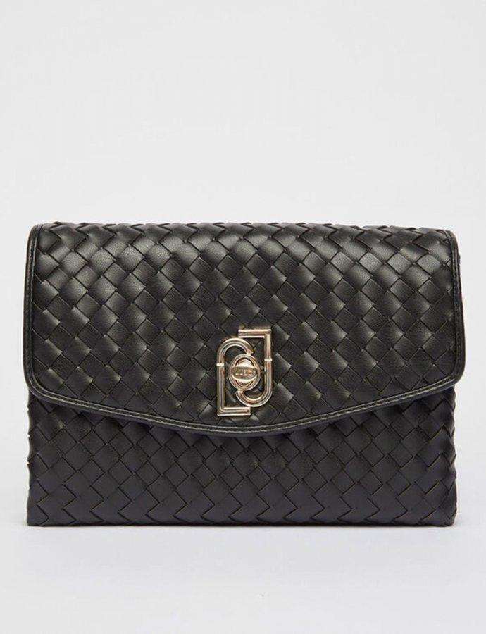 Eco-friendly woven clutch bag nero