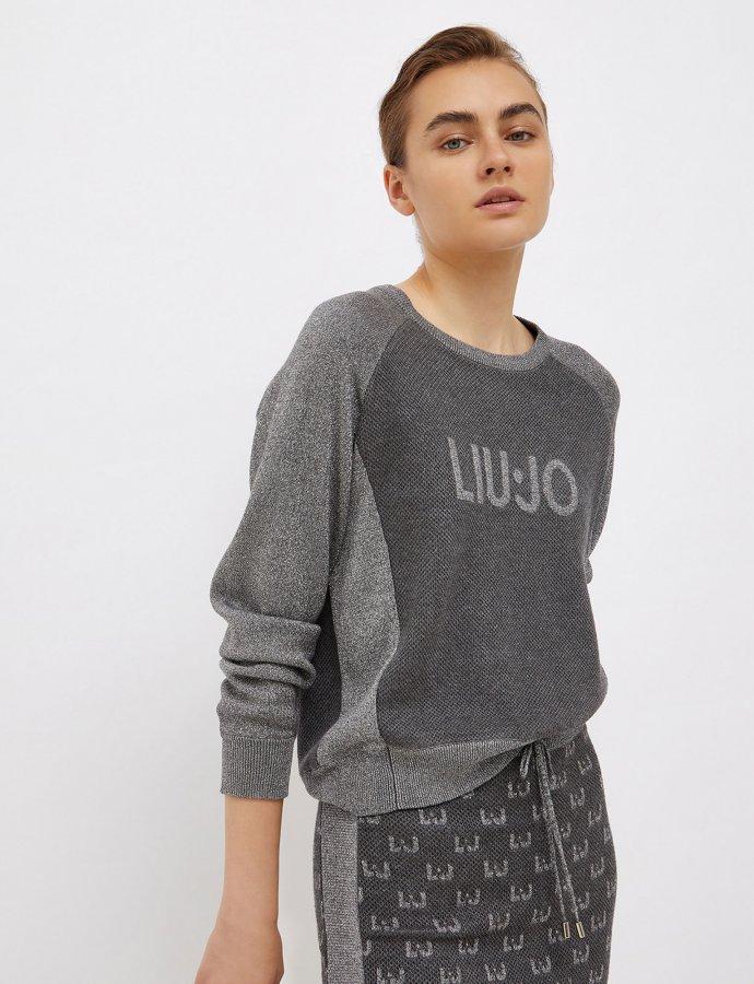Jumper with jacquard logo grey