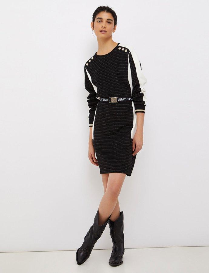 Short dress with logoed belt nero/snow white