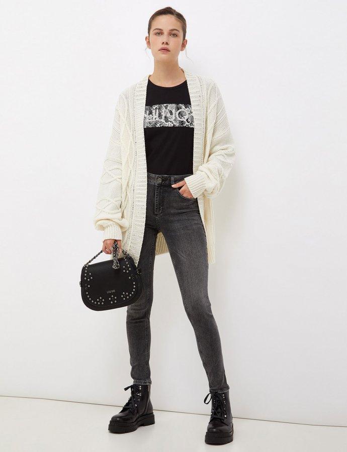 Skinny jeans with jewel appliqués grey
