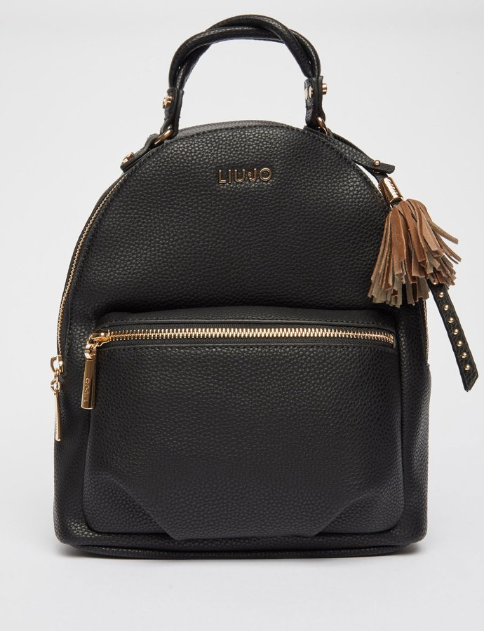 Eco-friendly backpack with charm nero