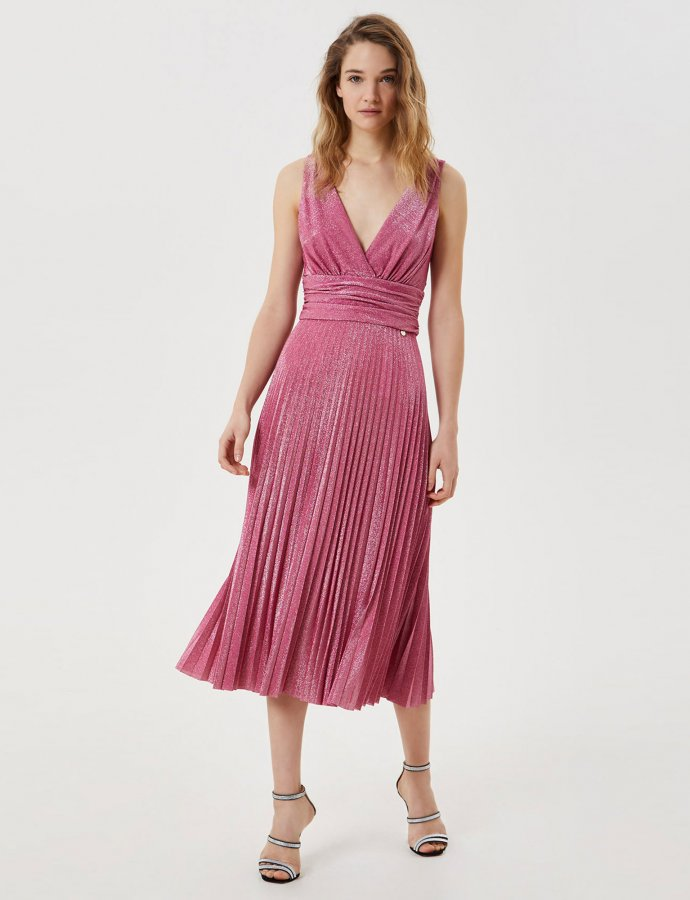 Pleated midi dress pink