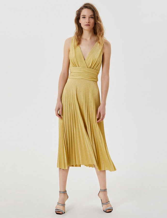 Pleated midi dress yellow