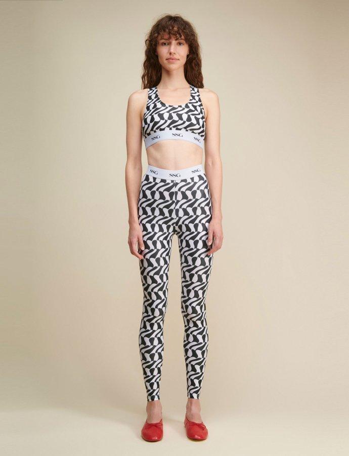 Avonia zic zac white & black leggings