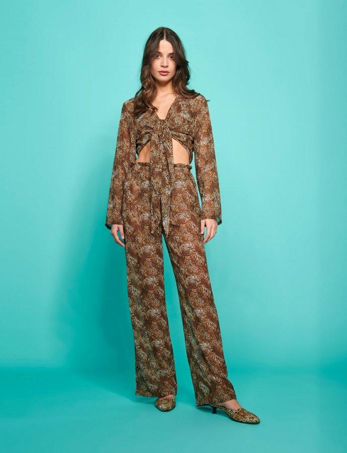 Valentina c-through pants animal print