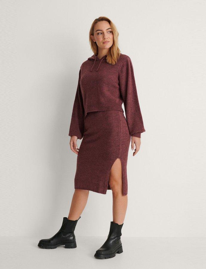 Side slit purple midi skirt