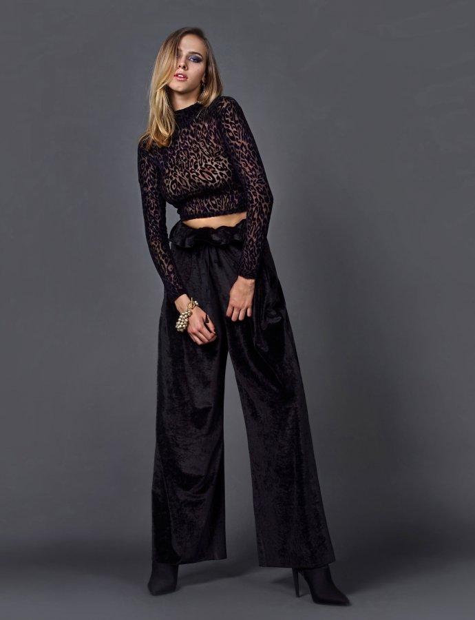 Black velvet pants